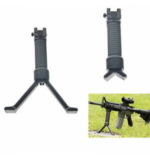 VERTICAL GRIP WITH TELESCOPE BIPOD - BLACK