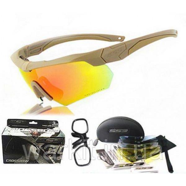 Тактические очки ESS Crossbow 5LS песочная оправа + поляризационная линза