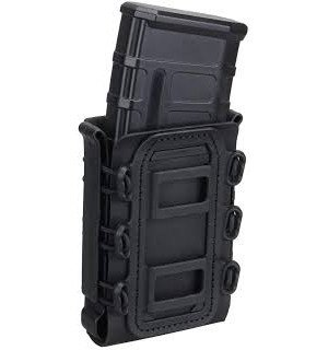SOFT SHELL RIFLE MAG POUCH WITH MOLLE CLIPS - BLACK [TMC]