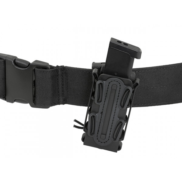 SOFT SHELL PISTOL MAG POUCH WITH MOLLE CLIP - BLACK [TMC]